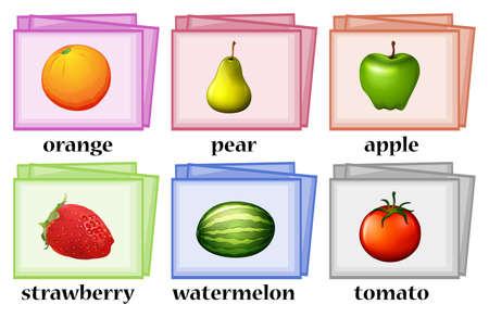 tarjetas de palabras para frutas y hortalizas ilustración
