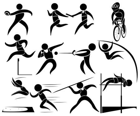 pole vault: Silhouette icons for track and fields  illustration