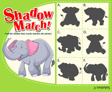 matching: Game template for shadow matching elephant illustration