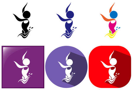 synchronized: Sport icons for synchronized swimming in three colors illustration