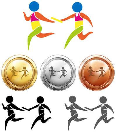 carrera de relevos: medallas del deporte con relé de funcionamiento ilustración