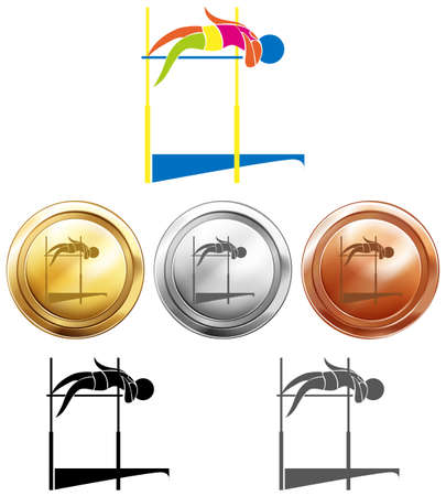 high jump: Different medals for high jump illustration
