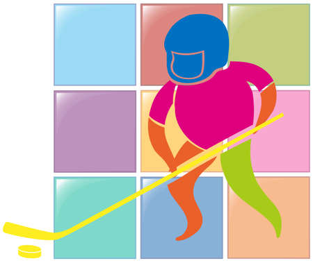 sports activity: Sport icon design for ground hockey in color illustration
