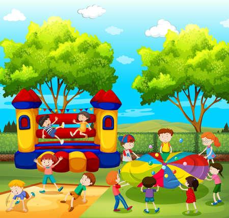 Niños jugando en el patio de la ilustración