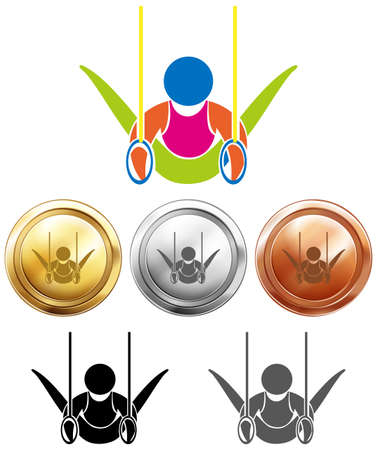 hoops: Sport medals and gymnastics double hoops illustration Illustration