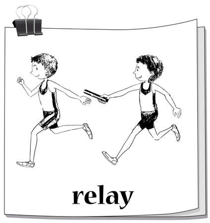 relay: Doodle athletes running relay illustration