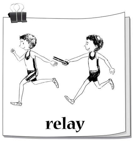 carrera de relevos: Doodle atletas corriendo ilustraci�n del rel� Vectores