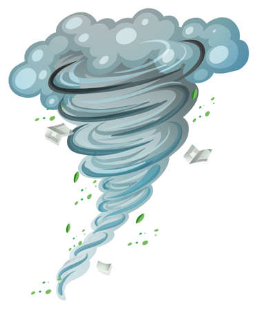 typhoon: Hurricane spinning around with leaves and books inside illustration