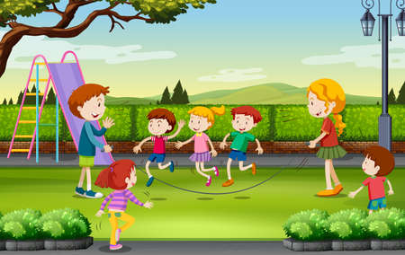 niño saltando: Los niños que saltan la cuerda en la ilustración parque