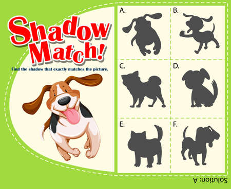shadow: Game template with shadow matching dog illustration Illustration