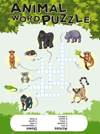 Game design for animal word puzzle illustration