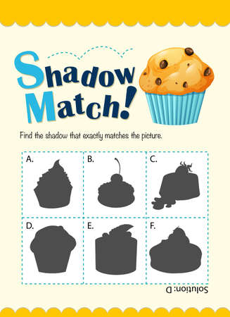 matching: Game template with shadow matching muffin illustration