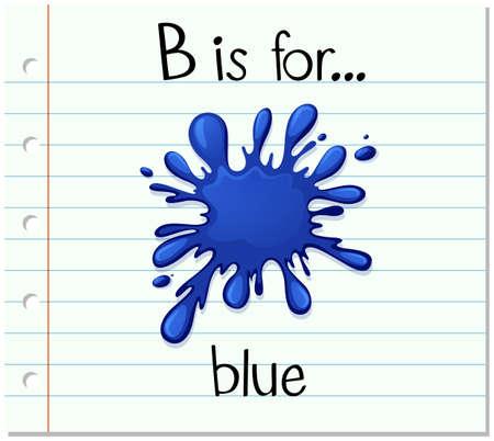 Flashcard letter B is for blue illustration