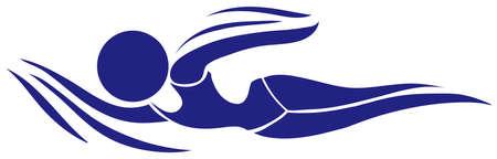 disegno dell'icona di sport per il nuoto illustrazione