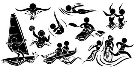 synchronized: Silhouette icons for many sports illustration