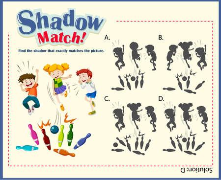 Game sjabloon voor schaduw matching met bowling illustratie