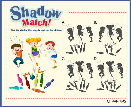 matching: Game template for shadow matching with bowling illustration