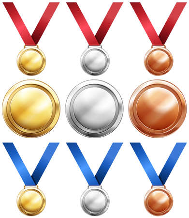 multiple image: Three kind of medals with red and blue ribbon illustration Illustration