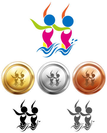 nataci�n sincronizada: Dise�o del icono del deporte para la nataci�n sincronizada en la ilustraci�n medallas
