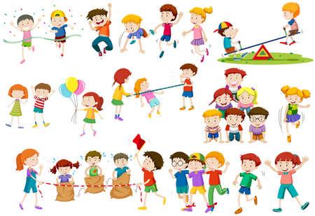 Kinderen spelen van verschillende spelletjes en activiteiten illustratie
