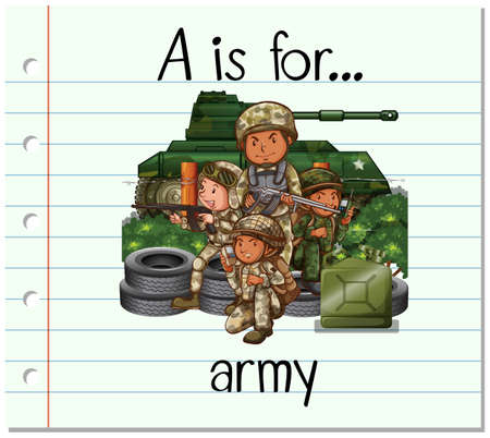 Flashcard letter A is for army illustration