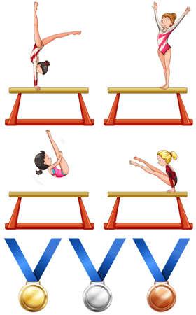 gold woman: Gymnastics and woman athletes illustration