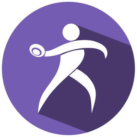 discus: Sport icon design for discus on purple badge illustration