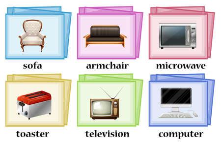 Wortkarten mit Objekten im Haus Set Illustration Vektorgrafik