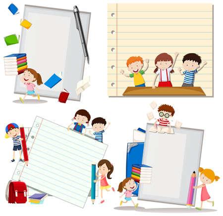 niños escribiendo: Diseño de papel con los niños en la escuela Ejemplo