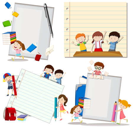 writing paper: Paper design with children at school illustration