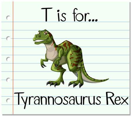 Flashcard letter T is for Tyrannosaurus Rex illustration Illustration