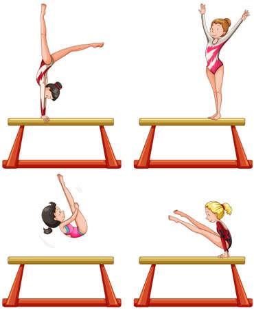 balance beam: Gymnastics players on balance beam illustration