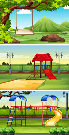 playhouse: Three scenes of park and playground illustration