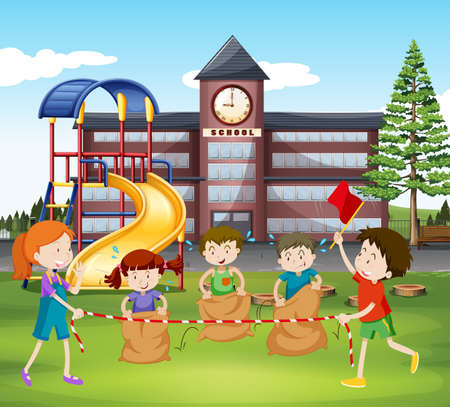 sacks: Children jumping sacks at school illustration