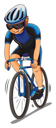 Man athlete riding bicycle illustration Illustration
