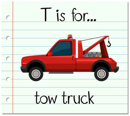 tow: Flashcard letter T is for tow truck illustration Illustration