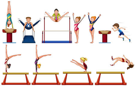 gymnastics: Different types of gymnastics with equipments illustration Illustration