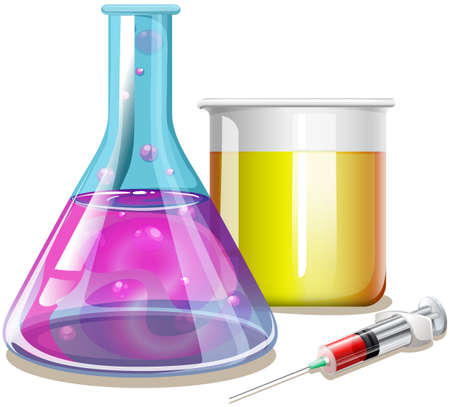 beakers: Chemical in glass beakers illustration