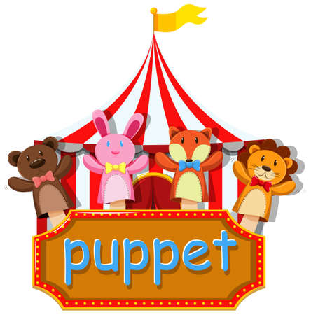role play: Different designs of hand puppet illustration