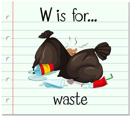 phonetics: Flashcard letter W is for waste illustration