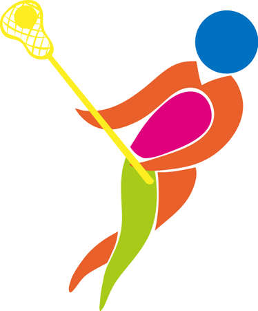 firms: Sport icon design for lacrosse in color illustration