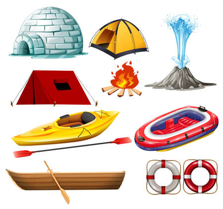 hiking: Different objects for camping and hiking illustration