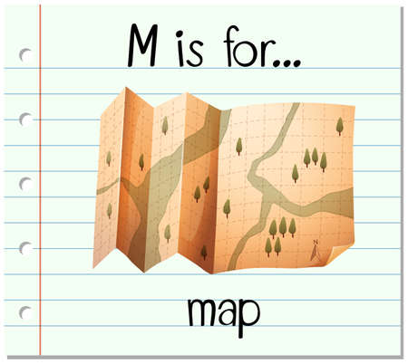 paper spell: Flashcard letter M is for map illustration