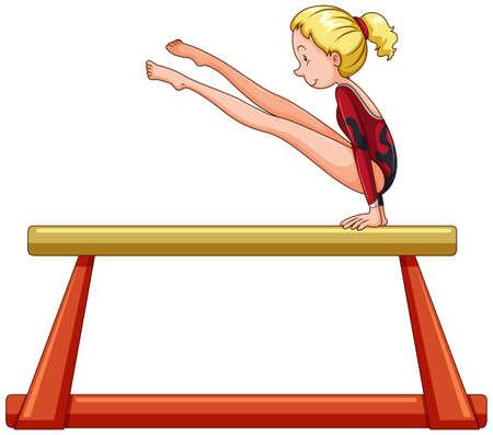 athletes: Female athlete on balance bar illustration Illustration