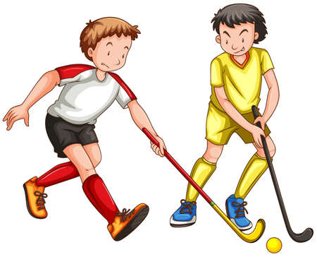 sports activity: Two men playing ground hockey illustration