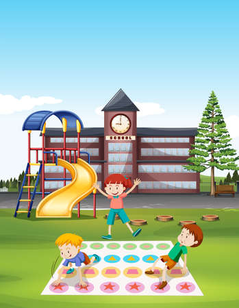 twister: Children playing twister at school lawn illustration Illustration