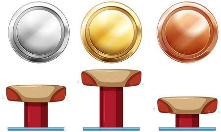 multiple image: Three medals for balance beam illustration