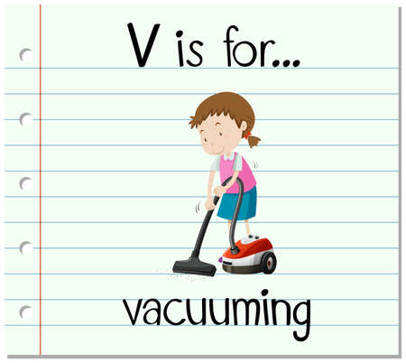 vacuuming: Flashcard letter V is for vacuuming  illustration