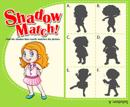 matching: Game template with shadow matching girl illustration Illustration