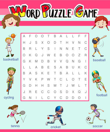 educational problem solving: Game template with word about sports illustration